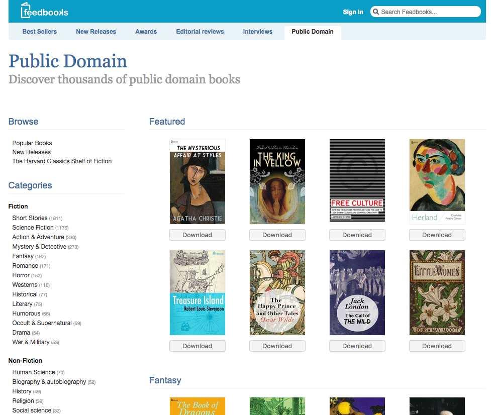 Feedbooks موقع الكتب المجانية