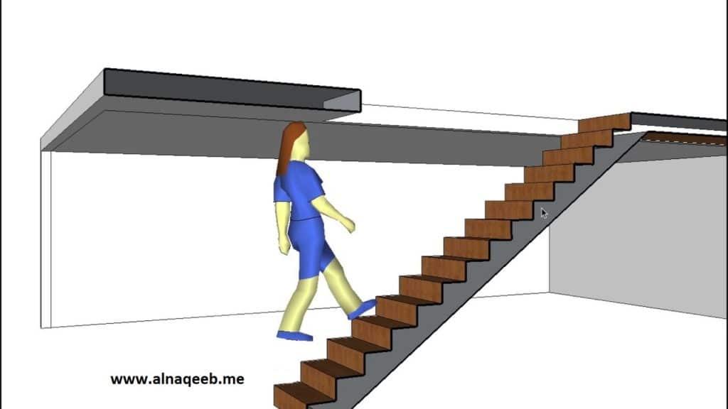 شخص يسير على درج غير امن